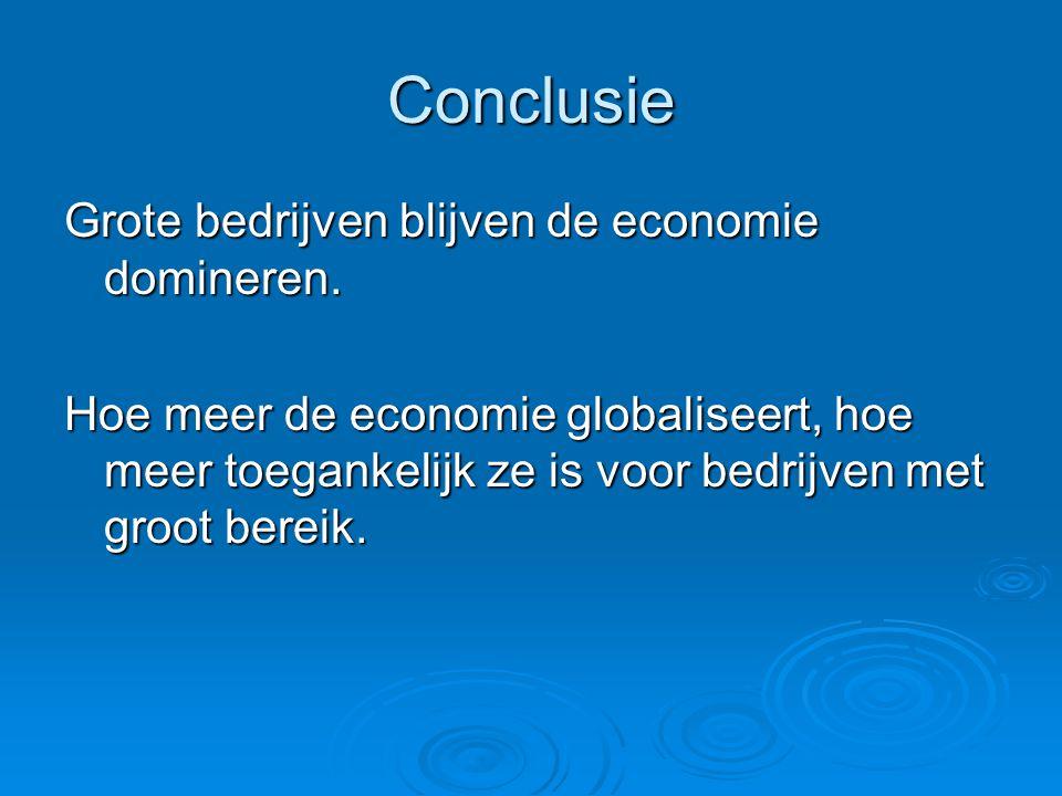 Conclusie Grote bedrijven blijven de economie domineren.
