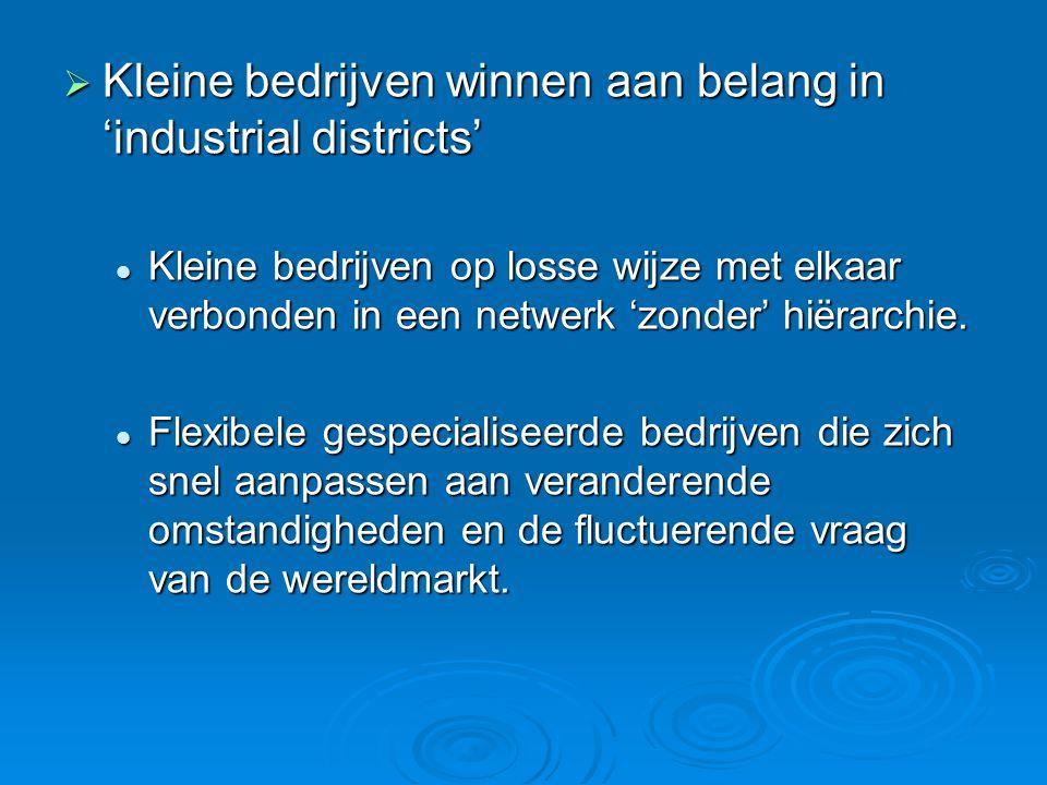  Kleine bedrijven winnen aan belang in 'industrial districts' Kleine bedrijven op losse wijze met elkaar verbonden in een netwerk 'zonder' hiërarchie.