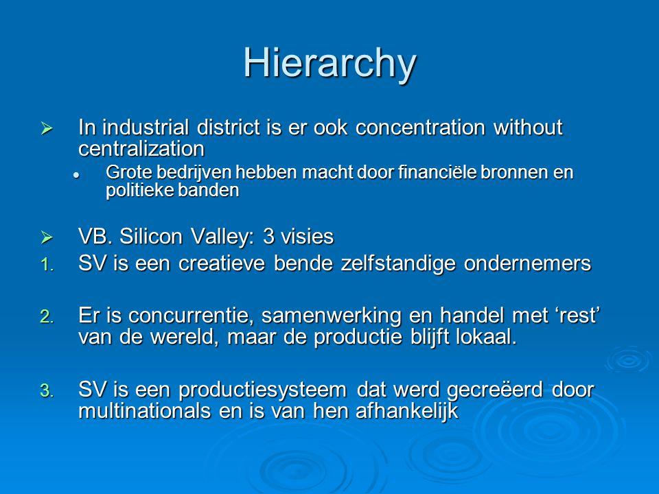 Hierarchy  In industrial district is er ook concentration without centralization Grote bedrijven hebben macht door financiële bronnen en politieke banden Grote bedrijven hebben macht door financiële bronnen en politieke banden  VB.