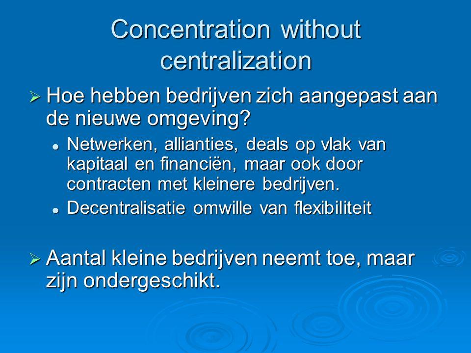 Concentration without centralization  Hoe hebben bedrijven zich aangepast aan de nieuwe omgeving.