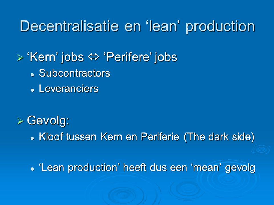 Decentralisatie en 'lean' production  'Kern' jobs  'Perifere' jobs Subcontractors Subcontractors Leveranciers Leveranciers  Gevolg: Kloof tussen Kern en Periferie (The dark side) Kloof tussen Kern en Periferie (The dark side) 'Lean production' heeft dus een 'mean' gevolg 'Lean production' heeft dus een 'mean' gevolg