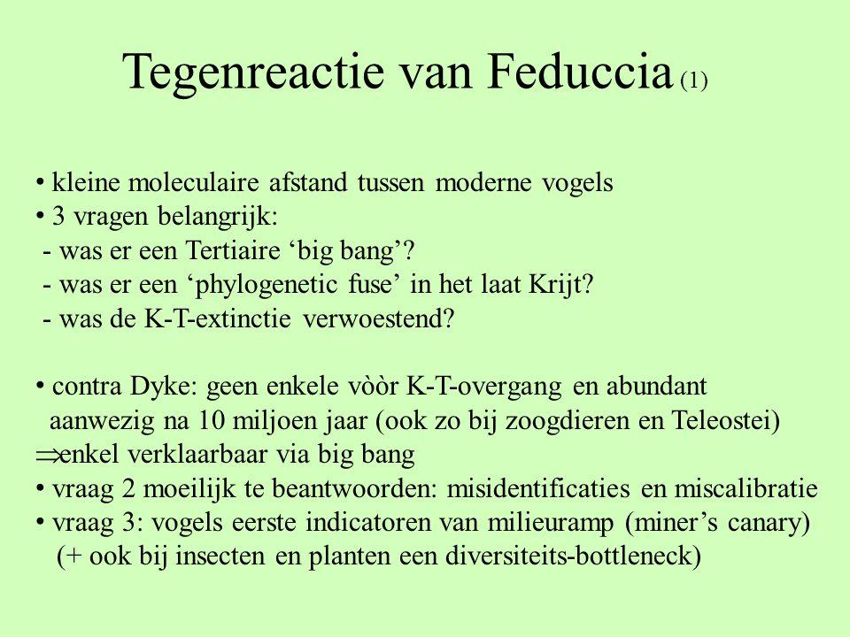 Tegenreactie van Feduccia (1) kleine moleculaire afstand tussen moderne vogels 3 vragen belangrijk: - was er een Tertiaire 'big bang'? - was er een 'p