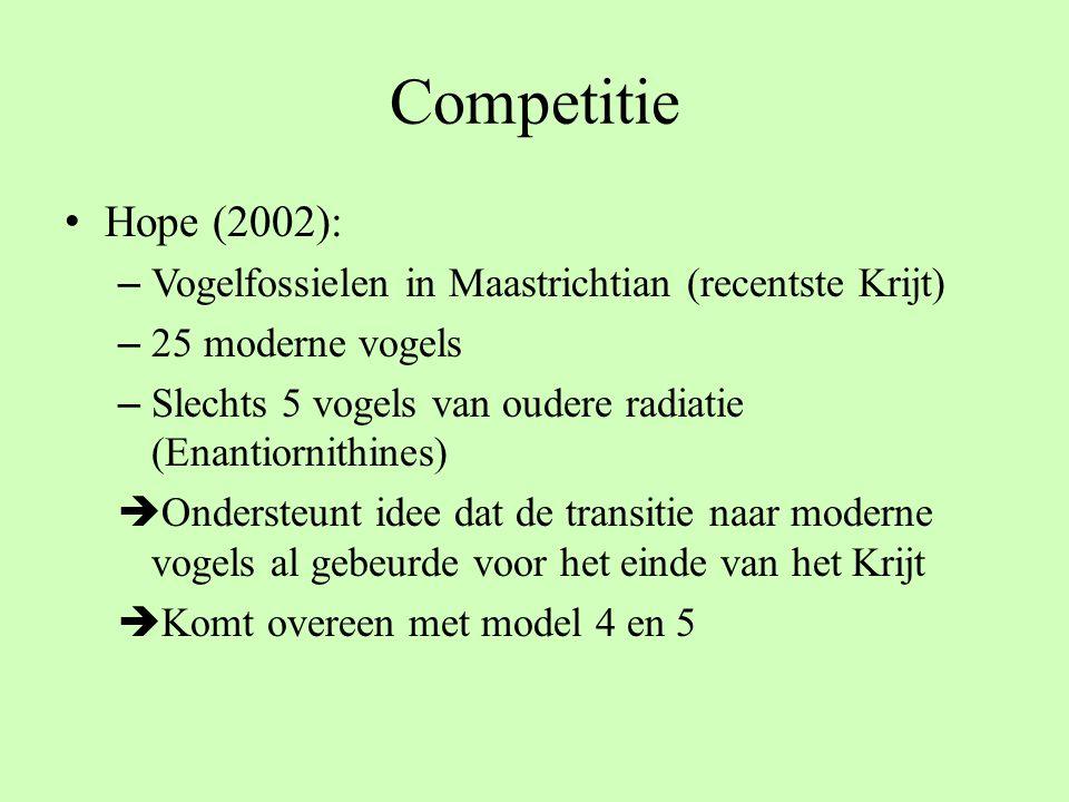 Competitie Hope (2002): – Vogelfossielen in Maastrichtian (recentste Krijt) – 25 moderne vogels – Slechts 5 vogels van oudere radiatie (Enantiornithin