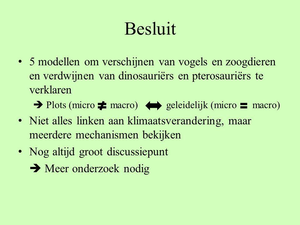 Besluit 5 modellen om verschijnen van vogels en zoogdieren en verdwijnen van dinosauriërs en pterosauriërs te verklaren  Plots (micro macro) geleidel
