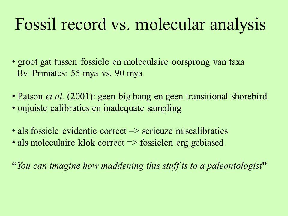 Fossil record vs. molecular analysis groot gat tussen fossiele en moleculaire oorsprong van taxa Bv. Primates: 55 mya vs. 90 mya Patson et al. (2001):