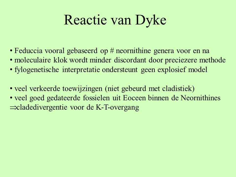 Reactie van Dyke Feduccia vooral gebaseerd op # neornithine genera voor en na moleculaire klok wordt minder discordant door preciezere methode fylogen