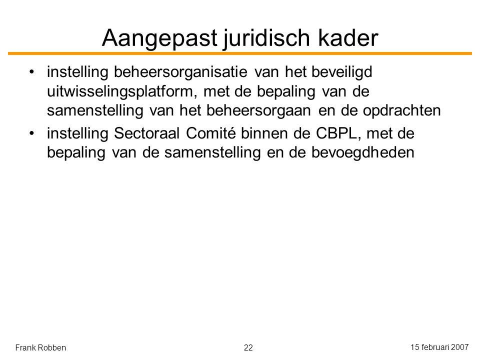 22 15 februari 2007 Frank Robben Aangepast juridisch kader instelling beheersorganisatie van het beveiligd uitwisselingsplatform, met de bepaling van de samenstelling van het beheersorgaan en de opdrachten instelling Sectoraal Comité binnen de CBPL, met de bepaling van de samenstelling en de bevoegdheden