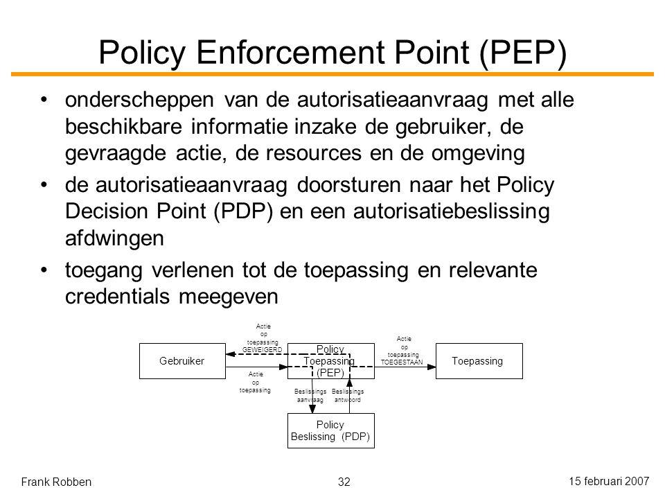 32 15 februari 2007 Frank Robben Policy Enforcement Point (PEP) onderscheppen van de autorisatieaanvraag met alle beschikbare informatie inzake de gebruiker, de gevraagde actie, de resources en de omgeving de autorisatieaanvraag doorsturen naar het Policy Decision Point (PDP) en een autorisatiebeslissing afdwingen toegang verlenen tot de toepassing en relevante credentials meegeven Gebruiker Policy Toepassing (PEP) Toepassing Policy Beslissing(PDP) Actie op toepassing Beslissings aanvraag Beslissings antwoord Actie op toepassing TOEGESTAAN Actie op toepassing GEWEIGERD