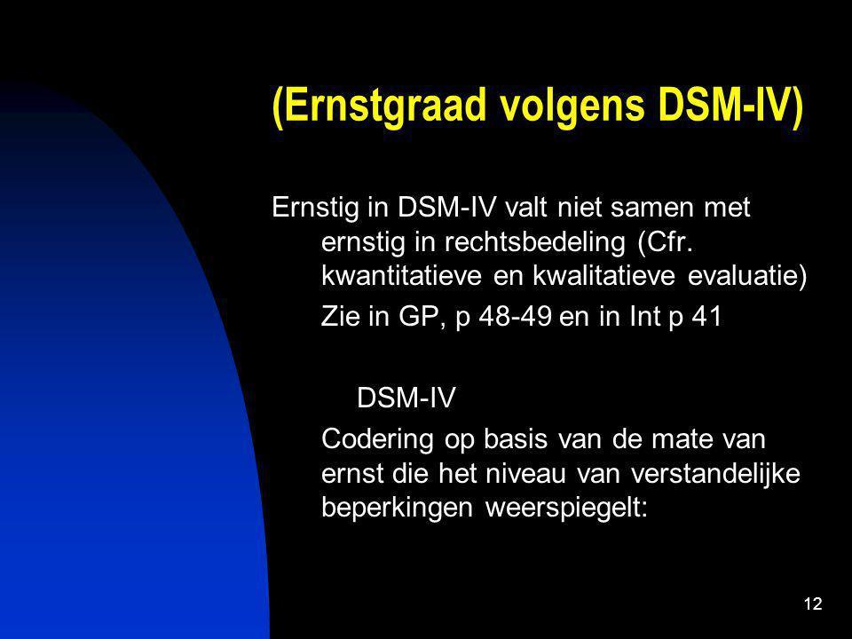 12 (Ernstgraad volgens DSM-IV) Ernstig in DSM-IV valt niet samen met ernstig in rechtsbedeling (Cfr.