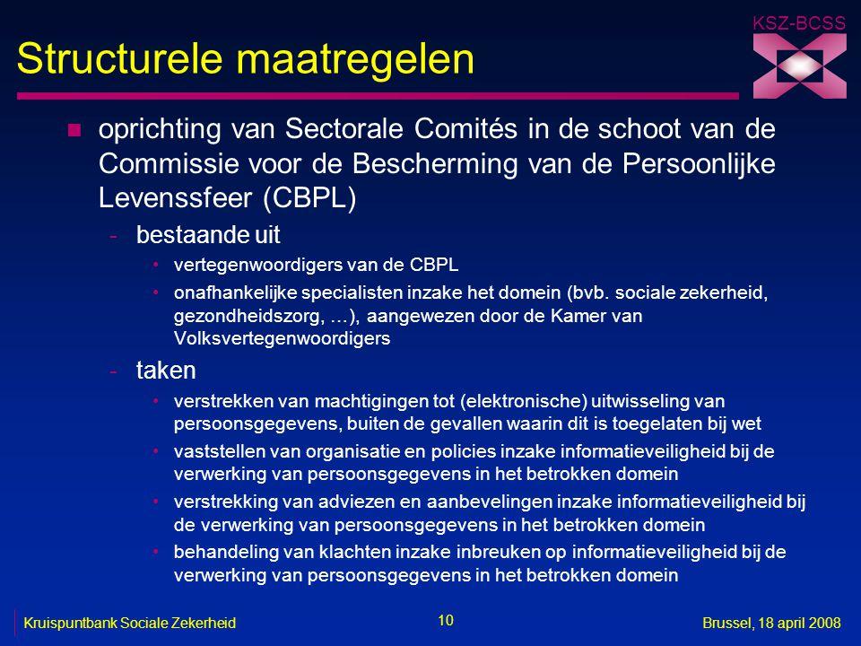 KSZ-BCSS 10 Kruispuntbank Sociale ZekerheidBrussel, 18 april 2008 Structurele maatregelen n oprichting van Sectorale Comités in de schoot van de Commi