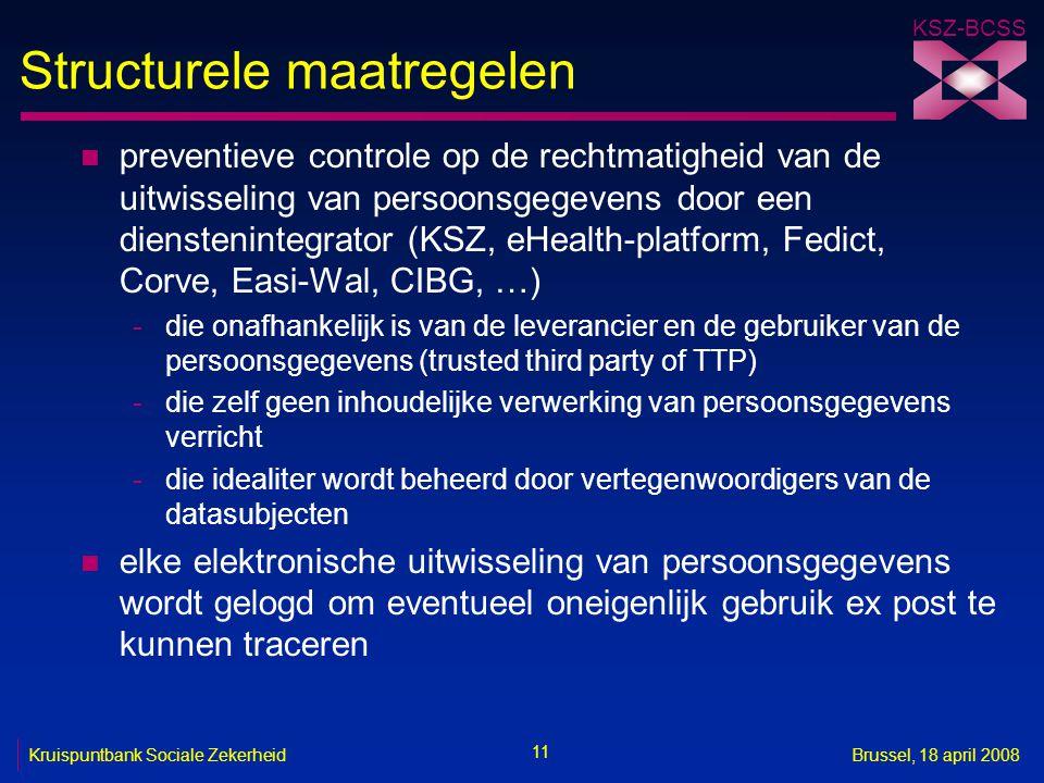 KSZ-BCSS 11 Kruispuntbank Sociale ZekerheidBrussel, 18 april 2008 Structurele maatregelen n preventieve controle op de rechtmatigheid van de uitwissel