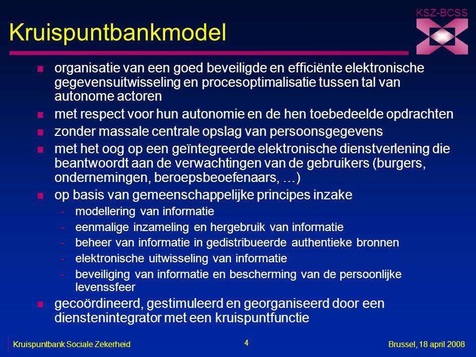 KSZ-BCSS 4 Kruispuntbank Sociale ZekerheidBrussel, 18 april 2008 Kruispuntbankmodel n organisatie van een goed beveiligde en efficiënte elektronische