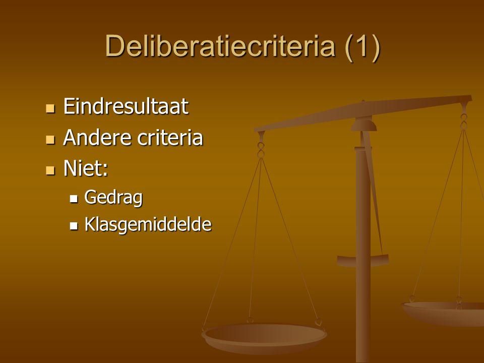 Eindresultaat Eindresultaat Andere criteria Andere criteria Niet: Niet: Gedrag Gedrag Klasgemiddelde Klasgemiddelde Deliberatiecriteria (1)