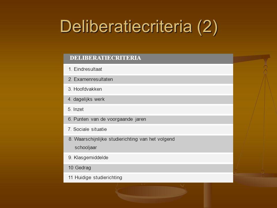 DELIBERATIECRITERIA 1. Eindresultaat 2. Examenresultaten 3. Hoofdvakken 4. dagelijks werk 5. Inzet 6. Punten van de voorgaande jaren 7. Sociale situat