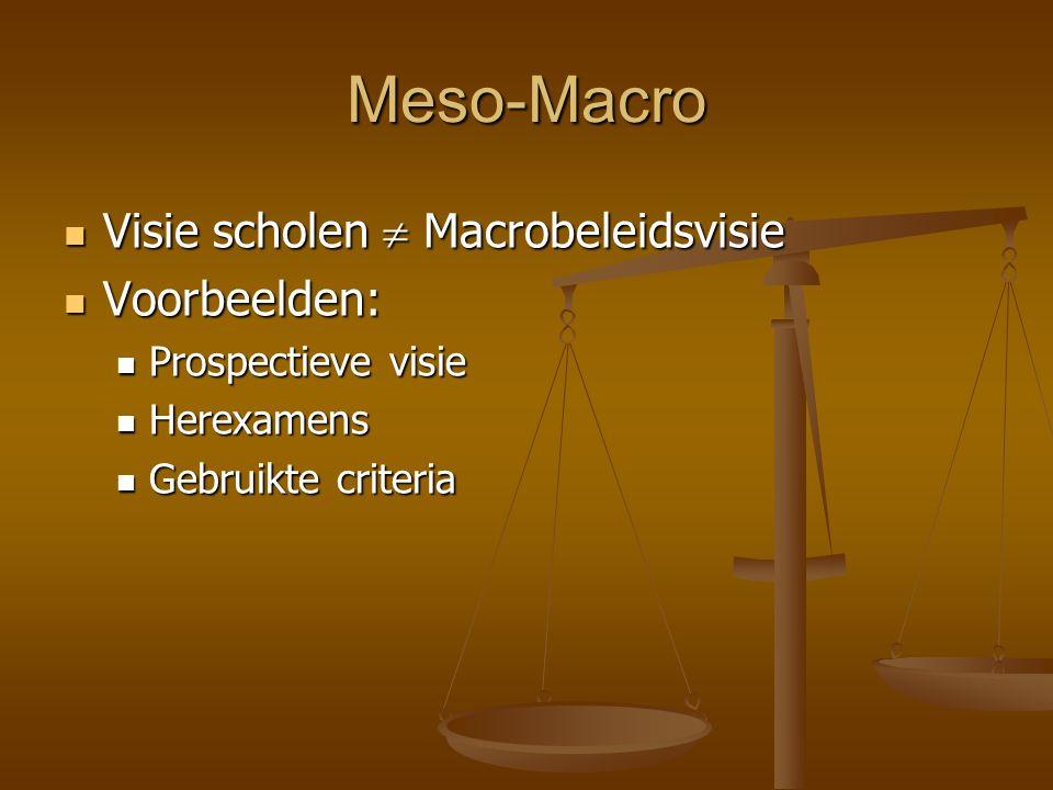 Meso-Macro Visie scholen  Macrobeleidsvisie Visie scholen  Macrobeleidsvisie Voorbeelden: Voorbeelden: Prospectieve visie Prospectieve visie Herexam