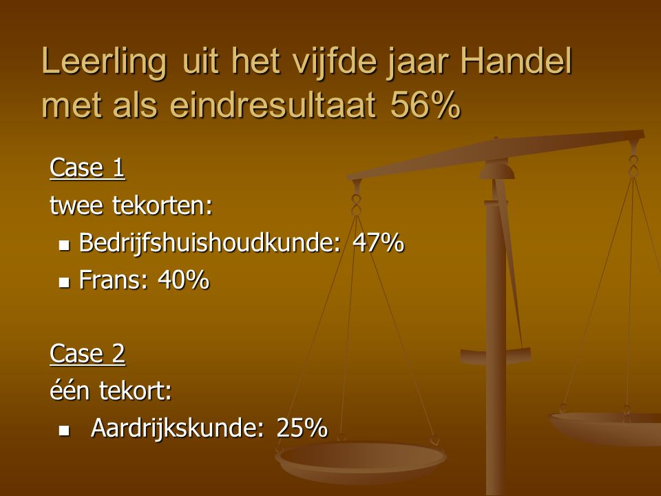 Case 1 twee tekorten: Bedrijfshuishoudkunde: 47% Bedrijfshuishoudkunde: 47% Frans: 40% Frans: 40% Case 2 één tekort: Aardrijkskunde: 25% Aardrijkskund