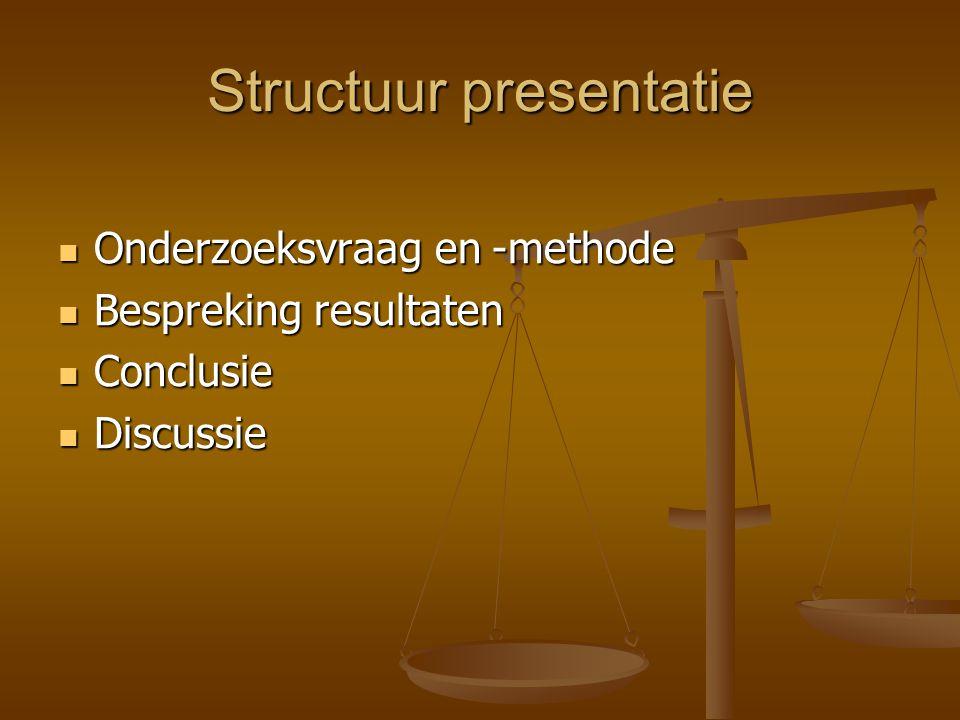 Structuur presentatie Onderzoeksvraag en -methode Onderzoeksvraag en -methode Bespreking resultaten Bespreking resultaten Conclusie Conclusie Discussi