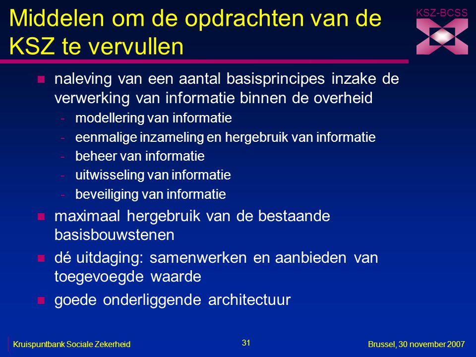 KSZ-BCSS 31 Kruispuntbank Sociale ZekerheidBrussel, 30 november 2007 Middelen om de opdrachten van de KSZ te vervullen n naleving van een aantal basis