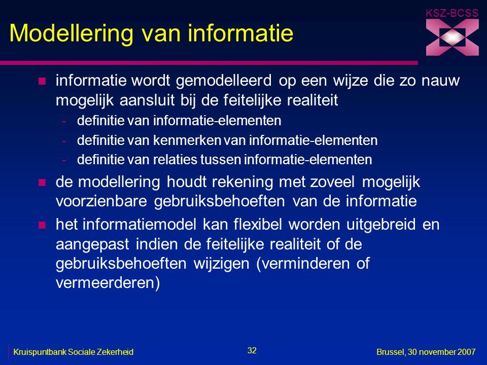 KSZ-BCSS 32 Kruispuntbank Sociale ZekerheidBrussel, 30 november 2007 Modellering van informatie n informatie wordt gemodelleerd op een wijze die zo nauw mogelijk aansluit bij de feitelijke realiteit -definitie van informatie-elementen -definitie van kenmerken van informatie-elementen -definitie van relaties tussen informatie-elementen n de modellering houdt rekening met zoveel mogelijk voorzienbare gebruiksbehoeften van de informatie n het informatiemodel kan flexibel worden uitgebreid en aangepast indien de feitelijke realiteit of de gebruiksbehoeften wijzigen (verminderen of vermeerderen)