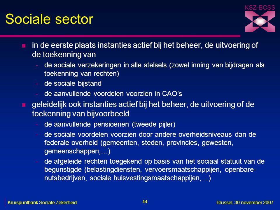 KSZ-BCSS 44 Kruispuntbank Sociale ZekerheidBrussel, 30 november 2007 Sociale sector n in de eerste plaats instanties actief bij het beheer, de uitvoering of de toekenning van -de sociale verzekeringen in alle stelsels (zowel inning van bijdragen als toekenning van rechten) -de sociale bijstand -de aanvullende voordelen voorzien in CAO's n geleidelijk ook instanties actief bij het beheer, de uitvoering of de toekenning van bijvoorbeeld -de aanvullende pensioenen (tweede pijler) -de sociale voordelen voorzien door andere overheidsniveaus dan de federale overheid (gemeenten, steden, provincies, gewesten, gemeenschappen,…) -de afgeleide rechten toegekend op basis van het sociaal statuut van de begunstigde (belastingdiensten, vervoersmaatschappijen, openbare- nutsbedrijven, sociale huisvestingsmaatschappijen,…)