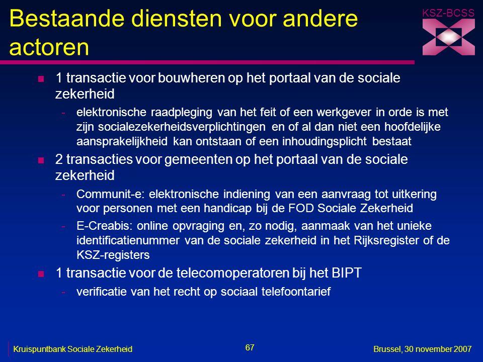 KSZ-BCSS 67 Kruispuntbank Sociale ZekerheidBrussel, 30 november 2007 Bestaande diensten voor andere actoren n 1 transactie voor bouwheren op het porta