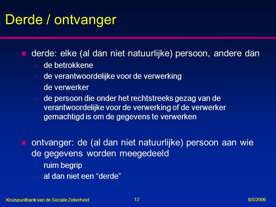 13 Kruispuntbank van de Sociale Zekerheid 8/5/2006 Algemeen principe (art.