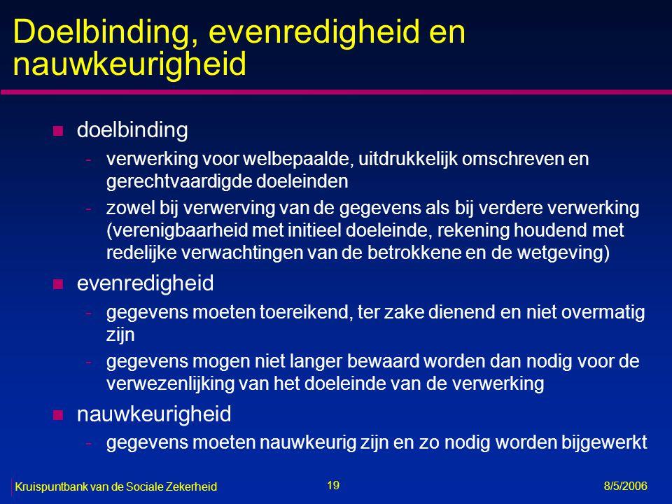 20 Kruispuntbank van de Sociale Zekerheid 8/5/2006 Verwerking is slechts toegestaan (art.