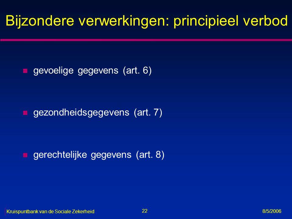 23 Kruispuntbank van de Sociale Zekerheid 8/5/2006 Gevoelige gegevens (art.