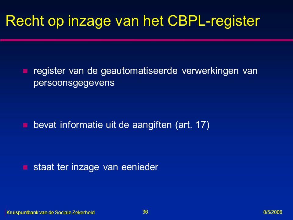 37 Kruispuntbank van de Sociale Zekerheid 8/5/2006 Uitoefening van bepaalde rechten bij CBPL (art.