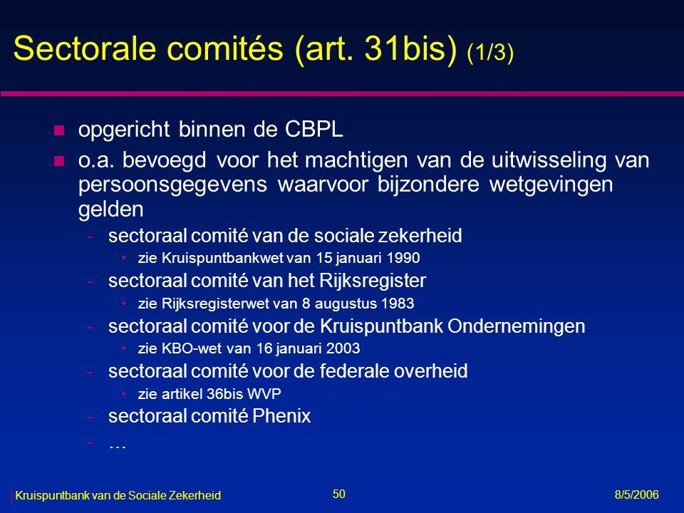 51 Kruispuntbank van de Sociale Zekerheid 8/5/2006 Sectorale comités (art.