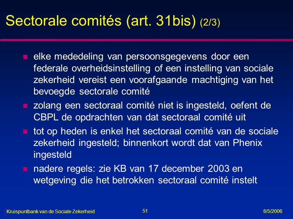52 Kruispuntbank van de Sociale Zekerheid 8/5/2006 Sectorale comités (art.