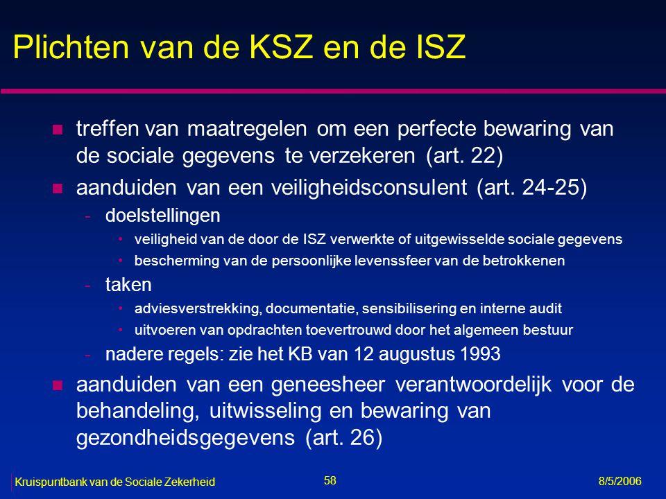 59 Kruispuntbank van de Sociale Zekerheid 8/5/2006 Plichten van eenieder betrokken bij toepassing van de sociale zekerheid n naleving van het doelbindingsbeginsel (art.