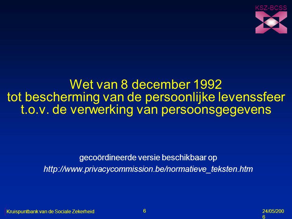 7 Kruispuntbank van de Sociale Zekerheid 8/5/2006 Definities n persoonsgegevens (art.