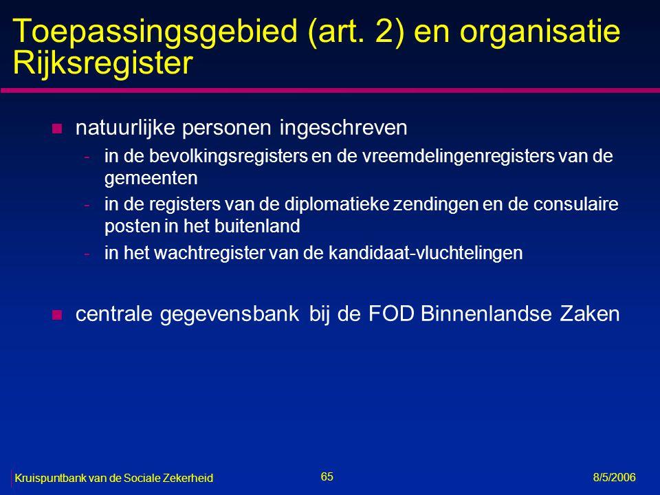66 Kruispuntbank van de Sociale Zekerheid 8/5/2006 Inhoud Rijksregister (art.