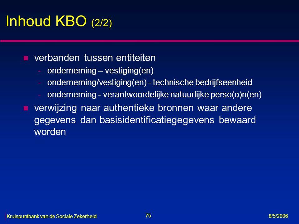 76 Kruispuntbank van de Sociale Zekerheid 8/5/2006 Toegang tot de KBO n toegang tot openbare gegevens is vrij n gebruik van het ondernemingsnummer is vrij n toegang tot niet-openbare gegevens vergt een machtiging van het sectoraal comité KBO