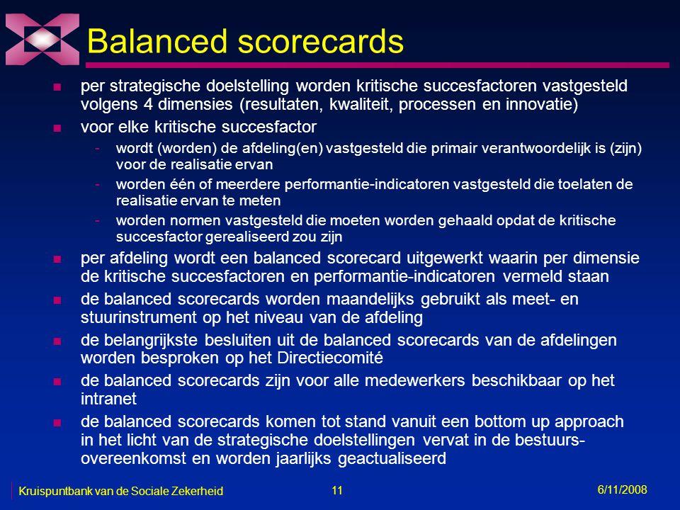 11 6/11/2008 Kruispuntbank van de Sociale Zekerheid Balanced scorecards n per strategische doelstelling worden kritische succesfactoren vastgesteld volgens 4 dimensies (resultaten, kwaliteit, processen en innovatie) n voor elke kritische succesfactor -wordt (worden) de afdeling(en) vastgesteld die primair verantwoordelijk is (zijn) voor de realisatie ervan -worden één of meerdere performantie-indicatoren vastgesteld die toelaten de realisatie ervan te meten -worden normen vastgesteld die moeten worden gehaald opdat de kritische succesfactor gerealiseerd zou zijn n per afdeling wordt een balanced scorecard uitgewerkt waarin per dimensie de kritische succesfactoren en performantie-indicatoren vermeld staan n de balanced scorecards worden maandelijks gebruikt als meet- en stuurinstrument op het niveau van de afdeling n de belangrijkste besluiten uit de balanced scorecards van de afdelingen worden besproken op het Directiecomité n de balanced scorecards zijn voor alle medewerkers beschikbaar op het intranet n de balanced scorecards komen tot stand vanuit een bottom up approach in het licht van de strategische doelstellingen vervat in de bestuurs- overeenkomst en worden jaarlijks geactualiseerd