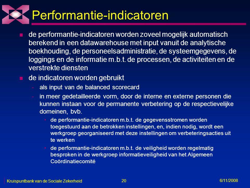 20 6/11/2008 Kruispuntbank van de Sociale Zekerheid Performantie-indicatoren n de performantie-indicatoren worden zoveel mogelijk automatisch berekend in een datawarehouse met input vanuit de analytische boekhouding, de personeelsadministratie, de systeemgegevens, de loggings en de informatie m.b.t.