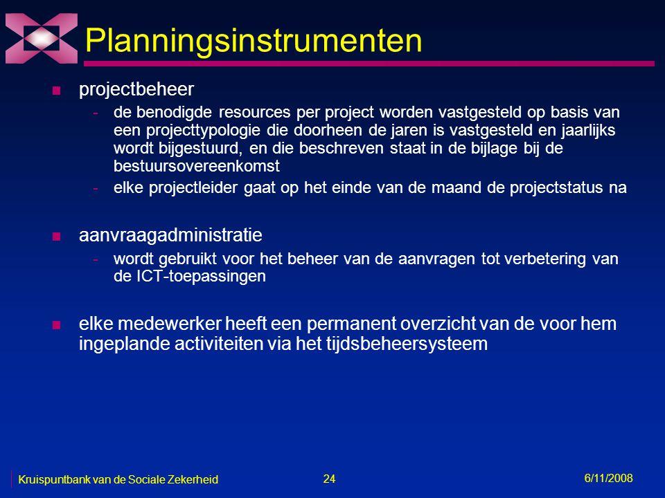 24 6/11/2008 Kruispuntbank van de Sociale Zekerheid Planningsinstrumenten n projectbeheer -de benodigde resources per project worden vastgesteld op basis van een projecttypologie die doorheen de jaren is vastgesteld en jaarlijks wordt bijgestuurd, en die beschreven staat in de bijlage bij de bestuursovereenkomst -elke projectleider gaat op het einde van de maand de projectstatus na n aanvraagadministratie -wordt gebruikt voor het beheer van de aanvragen tot verbetering van de ICT-toepassingen n elke medewerker heeft een permanent overzicht van de voor hem ingeplande activiteiten via het tijdsbeheersysteem