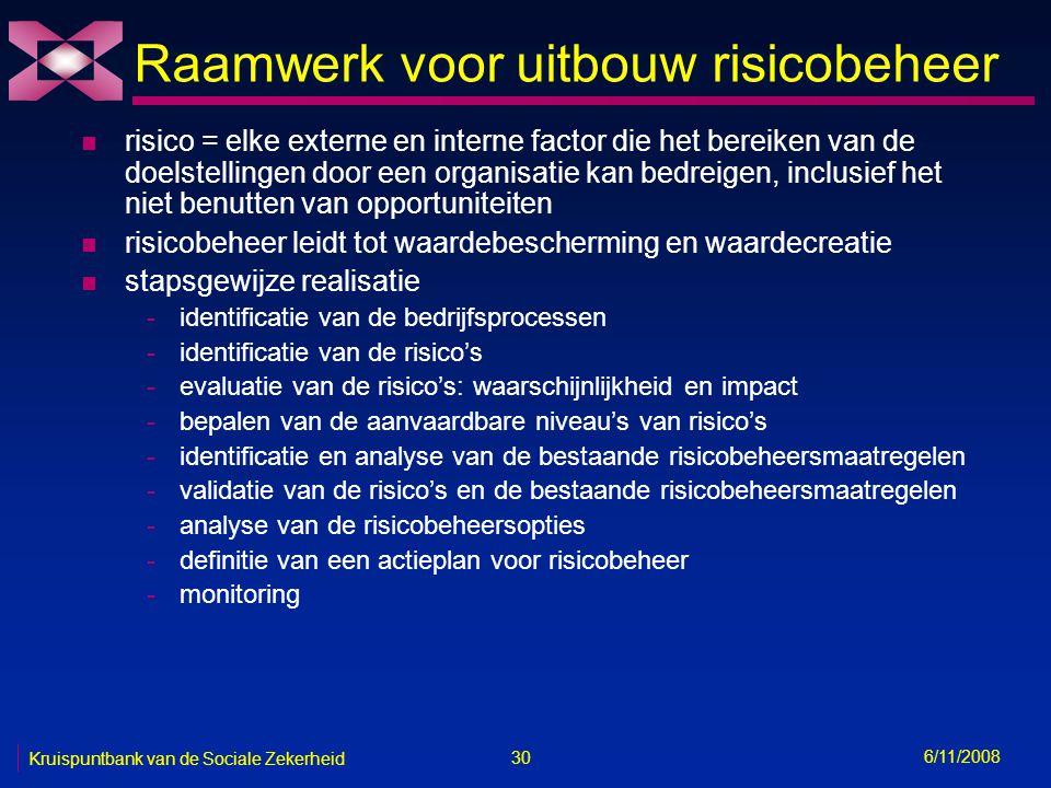30 6/11/2008 Kruispuntbank van de Sociale Zekerheid Raamwerk voor uitbouw risicobeheer n risico = elke externe en interne factor die het bereiken van de doelstellingen door een organisatie kan bedreigen, inclusief het niet benutten van opportuniteiten n risicobeheer leidt tot waardebescherming en waardecreatie n stapsgewijze realisatie -identificatie van de bedrijfsprocessen -identificatie van de risico's -evaluatie van de risico's: waarschijnlijkheid en impact -bepalen van de aanvaardbare niveau's van risico's -identificatie en analyse van de bestaande risicobeheersmaatregelen -validatie van de risico's en de bestaande risicobeheersmaatregelen -analyse van de risicobeheersopties -definitie van een actieplan voor risicobeheer -monitoring