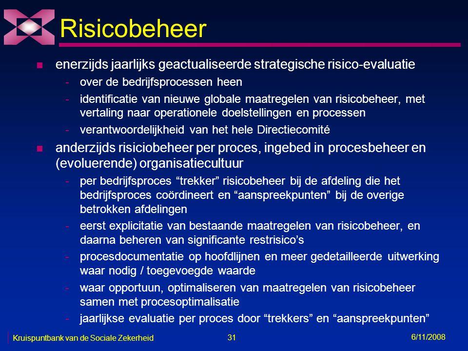 31 6/11/2008 Kruispuntbank van de Sociale Zekerheid Risicobeheer n enerzijds jaarlijks geactualiseerde strategische risico-evaluatie -over de bedrijfsprocessen heen -identificatie van nieuwe globale maatregelen van risicobeheer, met vertaling naar operationele doelstellingen en processen -verantwoordelijkheid van het hele Directiecomité n anderzijds risiciobeheer per proces, ingebed in procesbeheer en (evoluerende) organisatiecultuur -per bedrijfsproces trekker risicobeheer bij de afdeling die het bedrijfsproces coördineert en aanspreekpunten bij de overige betrokken afdelingen -eerst explicitatie van bestaande maatregelen van risicobeheer, en daarna beheren van significante restrisico's -procesdocumentatie op hoofdlijnen en meer gedetailleerde uitwerking waar nodig / toegevoegde waarde -waar opportuun, optimaliseren van maatregelen van risicobeheer samen met procesoptimalisatie -jaarlijkse evaluatie per proces door trekkers en aanspreekpunten
