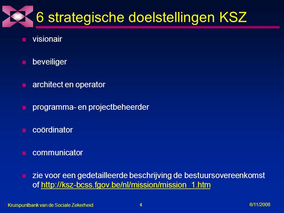 4 6/11/2008 Kruispuntbank van de Sociale Zekerheid 6 strategische doelstellingen KSZ n visionair n beveiliger n architect en operator n programma- en projectbeheerder n coördinator n communicator n zie voor een gedetailleerde beschrijving de bestuursovereenkomst of http://ksz-bcss.fgov.be/nl/mission/mission_1.htmhttp://ksz-bcss.fgov.be/nl/mission/mission_1.htm