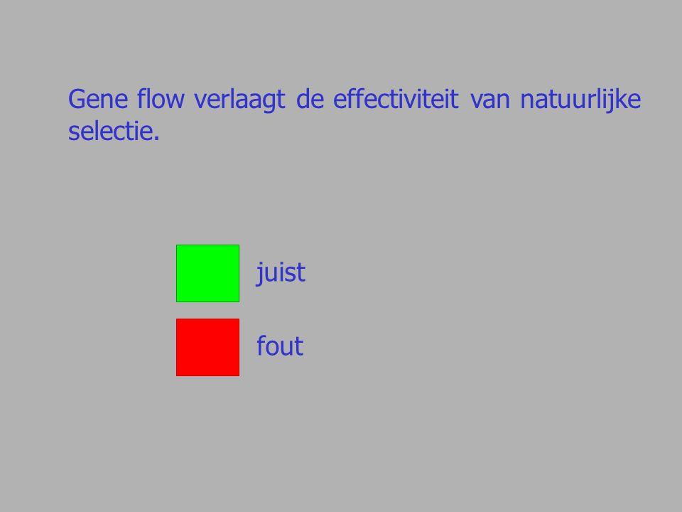 Gene flow verlaagt de effectiviteit van natuurlijke selectie. juist fout