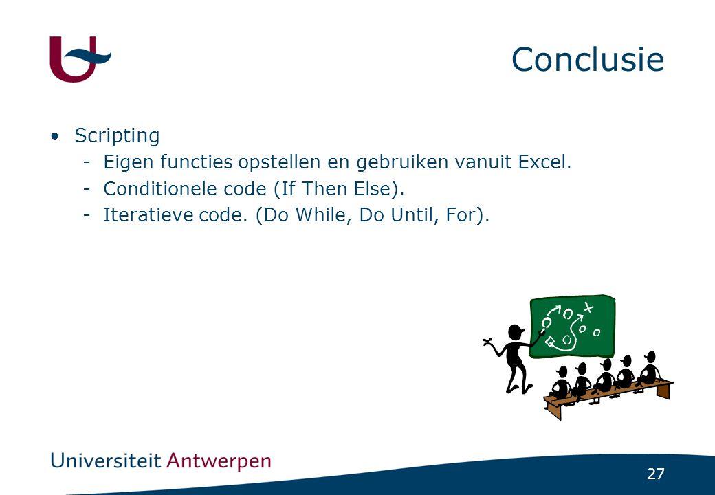 27 Conclusie Scripting -Eigen functies opstellen en gebruiken vanuit Excel.