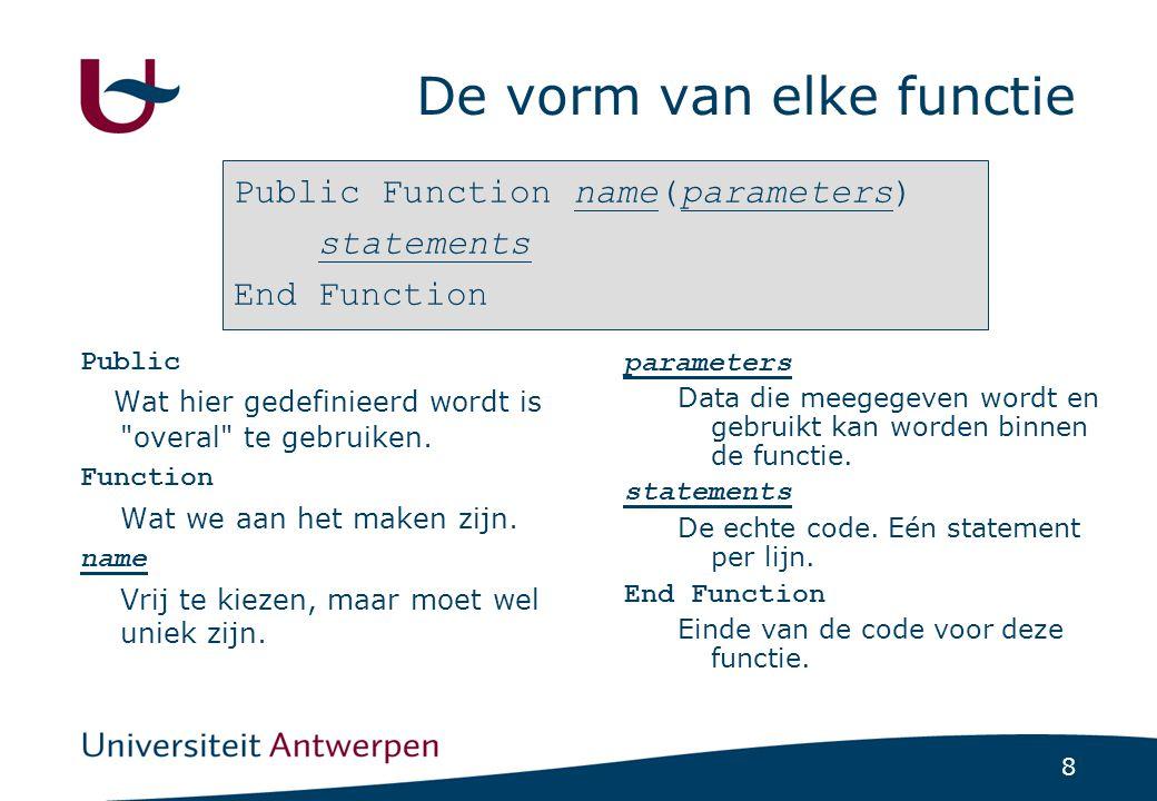 8 De vorm van elke functie Public Wat hier gedefinieerd wordt is overal te gebruiken.