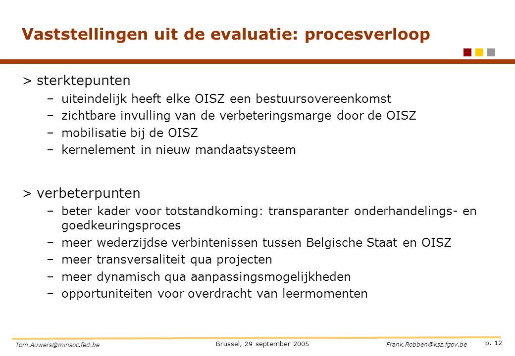 p. 12 Brussel, 29 september 2005 Tom.Auwers@minsoc.fed.be Frank.Robben@ksz.fgov.be Vaststellingen uit de evaluatie: procesverloop >sterktepunten –uite