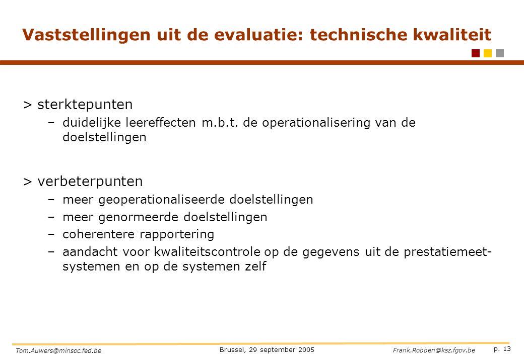 p. 13 Brussel, 29 september 2005 Tom.Auwers@minsoc.fed.be Frank.Robben@ksz.fgov.be Vaststellingen uit de evaluatie: technische kwaliteit >sterktepunte