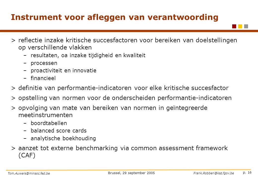 p. 16 Brussel, 29 september 2005 Tom.Auwers@minsoc.fed.be Frank.Robben@ksz.fgov.be Instrument voor afleggen van verantwoording >reflectie inzake kriti
