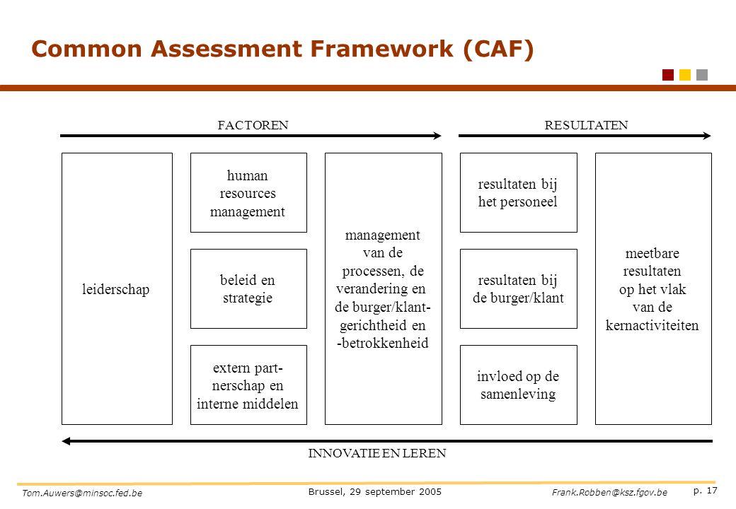 p. 17 Brussel, 29 september 2005 Tom.Auwers@minsoc.fed.be Frank.Robben@ksz.fgov.be Common Assessment Framework (CAF) leiderschap management van de pro