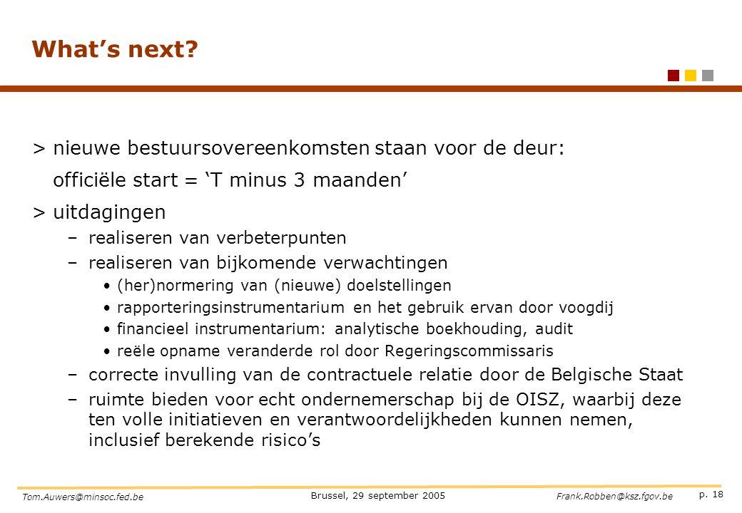 p. 18 Brussel, 29 september 2005 Tom.Auwers@minsoc.fed.be Frank.Robben@ksz.fgov.be What's next? >nieuwe bestuursovereenkomsten staan voor de deur: off