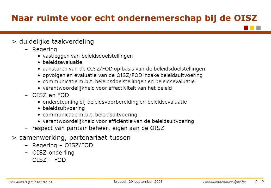p. 19 Brussel, 29 september 2005 Tom.Auwers@minsoc.fed.be Frank.Robben@ksz.fgov.be Naar ruimte voor echt ondernemerschap bij de OISZ >duidelijke taakv